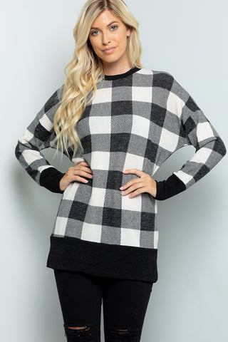 Plaid Print Tunic Top - Ivory/Black