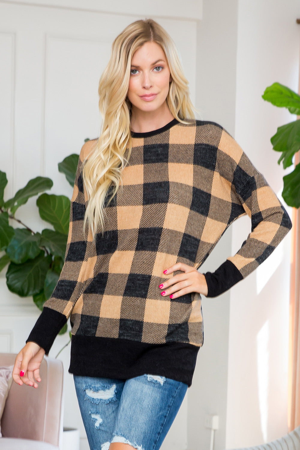 Plaid Print Tunic Top - Mocha/Black