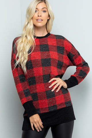 Plaid Print Tunic Top - Red/Black