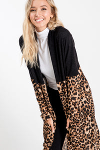 Solid & Leopard Print Long Cardigan W/ Pockets