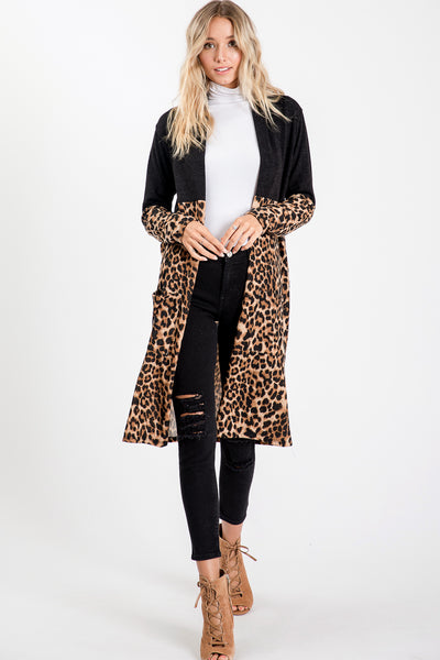 Solid Leopard Print Long Cardigan