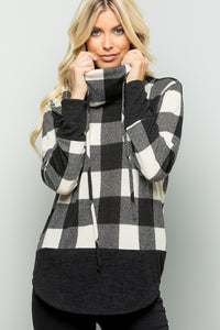 Buffalo Plaid Print Turtleneck Top - Ivory/Black