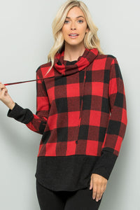 Buffalo Plaid Print Turtleneck Top - Red/Black