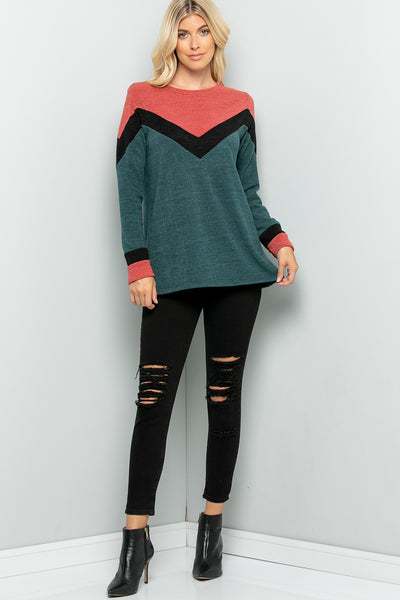 Color Block Knit Top - Hunger Green