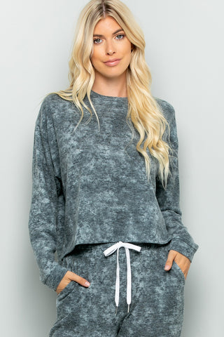 Tie Dye Pullover Top - Charcoal