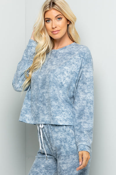 Tie Dye Pullover Top - Ink Blue