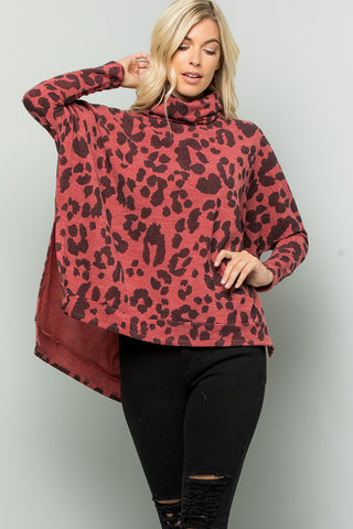 Leopard Print Turtleneck Over Size Tunic Top - Brick