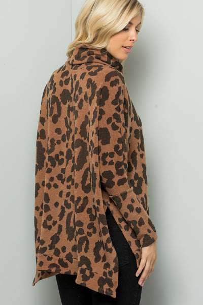 Leopard Print Turtleneck Over Size Tunic Top - Camel