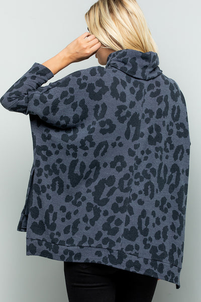 Leopard Print Turtleneck Over Size Tunic Top - Charcoal
