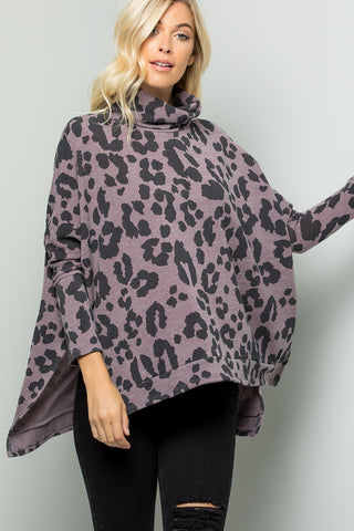 Leopard Print Turtleneck Over Size Tunic Top - DK Lavender
