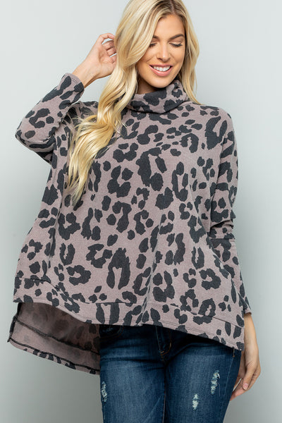 Leopard Print Turtleneck Over Size Tunic Top - Mocha