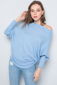 Oversize Boat Neck Dolman Sleeve Solid Top - Blue
