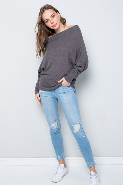 Oversize Boat Neck Dolman Sleeve Solid Top - Charcoal