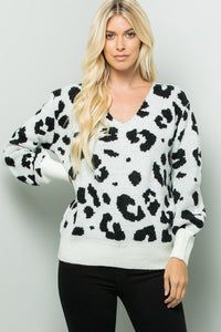 V-neck Bishop Sleeve Leopard Sweater Top - Ivory/Black