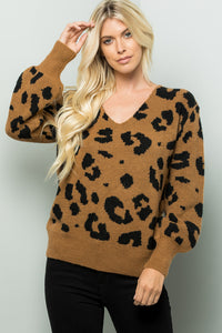 V-neck Bishop Sleeve Leopard Sweater Top - Mocha/Brown