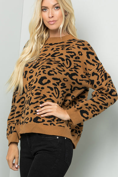 Drop Shoulder Leopard Print Sweater Top - Taupe/Black