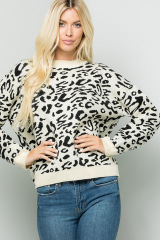 Drop Shoulder Leopard Print Sweater Top - Ivory/Black