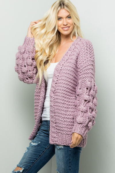 Handmade Ball Puff Sleeve Sweaters Cardigan - Dark Lavender
