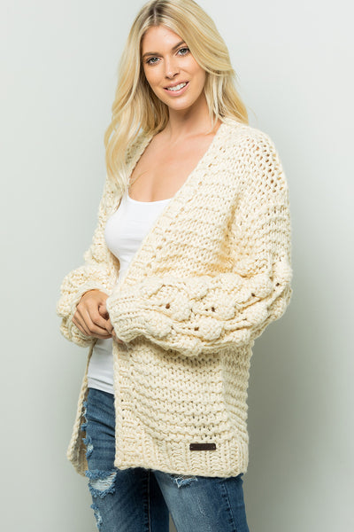 Handmade Ball Puff Sleeve Sweaters Cardigan - Ivory