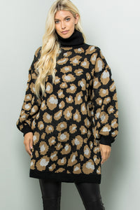 Turtleneck Leopard Sweater Tunic Dress - Black