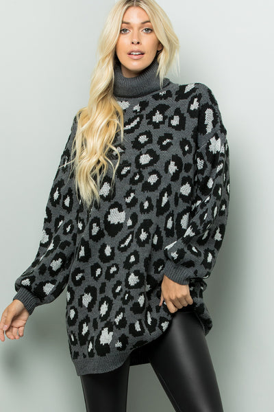 Turtleneck Leopard Sweater Tunic Dress - Charcoal