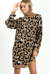 Turtleneck Leopard Sweater Tunic Dress - Mocha