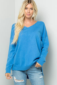 Cozy Knit Sweater Tunic Top - Blue