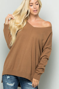 Cozy Knit Sweater Tunic Top - Camel