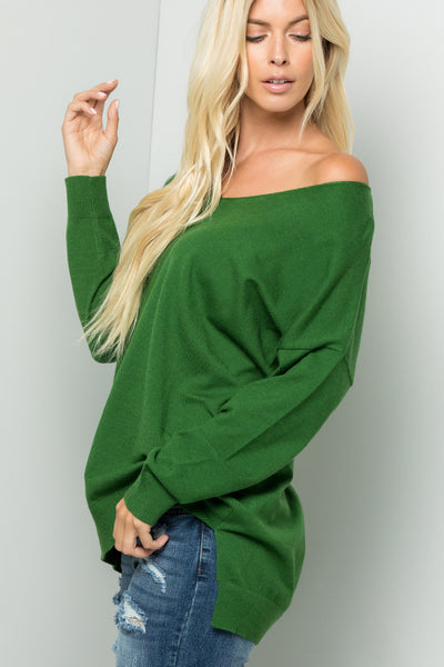 Cozy Knit Sweater Tunic Top - Green