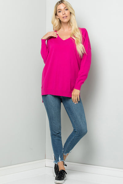 Cozy Knit Sweater Tunic Top - Hot Pink (Preorder)