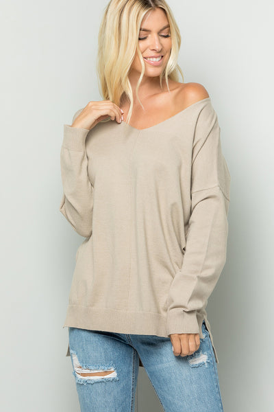Cozy Knit Sweater Tunic Top - Taupe