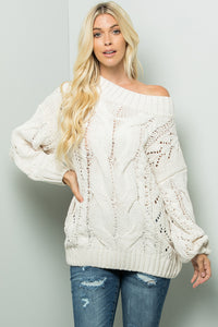 Solid Cable Sweater Top - Cream