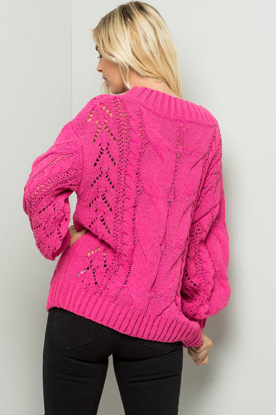 Solid Cable Sweater Top - Hot Pink