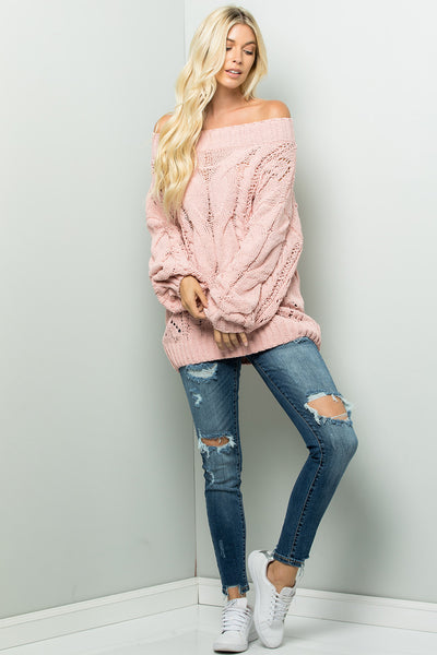 Solid Cable Sweater Top - Peach
