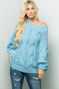 Solid Cable Sweater Top - Sky Blue
