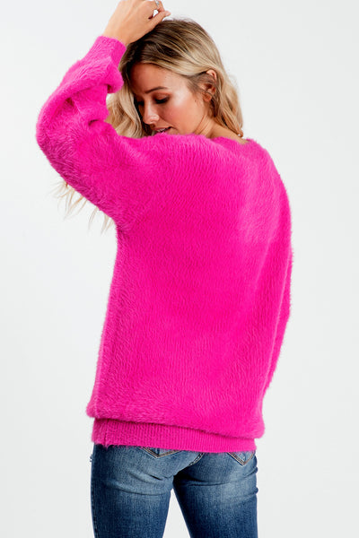 Bishop Sleeve V-neck Solid Tunic Sweater - Fuchsia