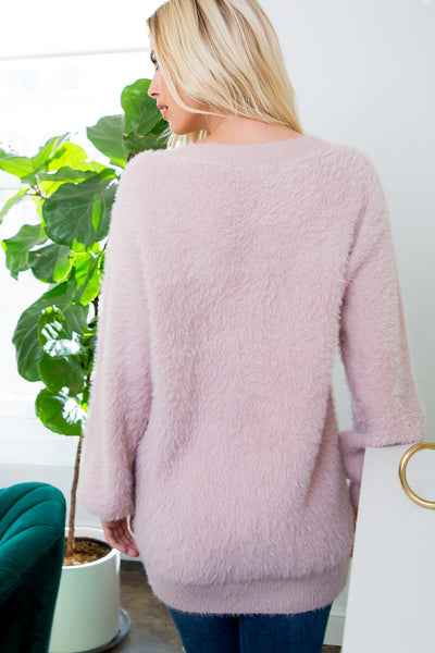 Bishop Sleeve V-neck Solid Tunic Sweater - Mauve