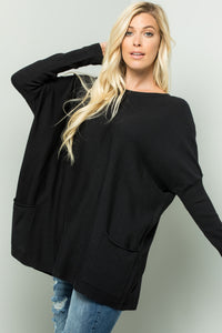 Oversize Soft Cozy Sweater Tunic - Black