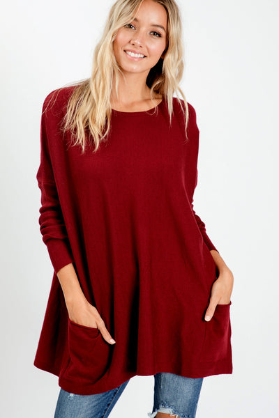 Oversize Soft Cozy Sweater Tunic - Burgundy
