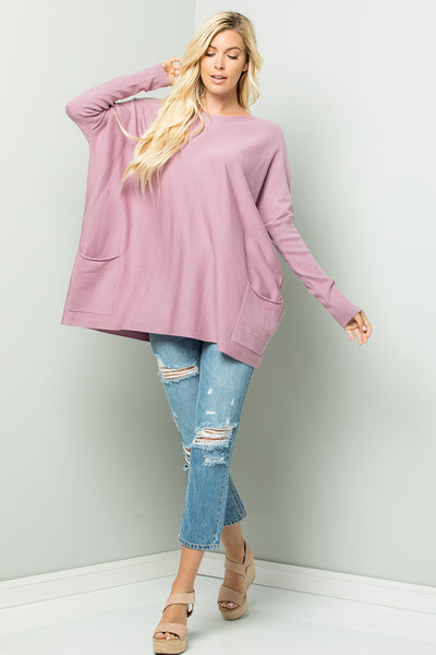 Oversize Soft Cozy Sweater Tunic - Lavender