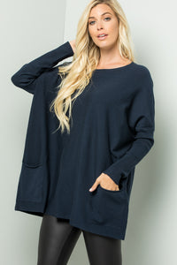 Oversize Soft Cozy Sweater Tunic - Navy