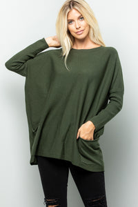 Oversize Soft Cozy Sweater Tunic - Olive