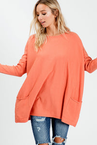 Oversize Soft Cozy Sweater Tunic - Peach