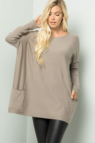 Oversize Soft Cozy Sweater Tunic - Stone