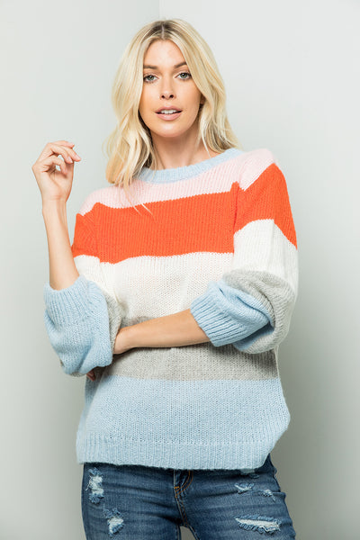 Colorful Striped Sweater Top - Blue/Orange