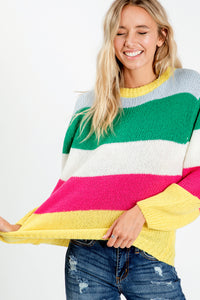 Colorful Striped Sweater Top - Green/Fuchsia