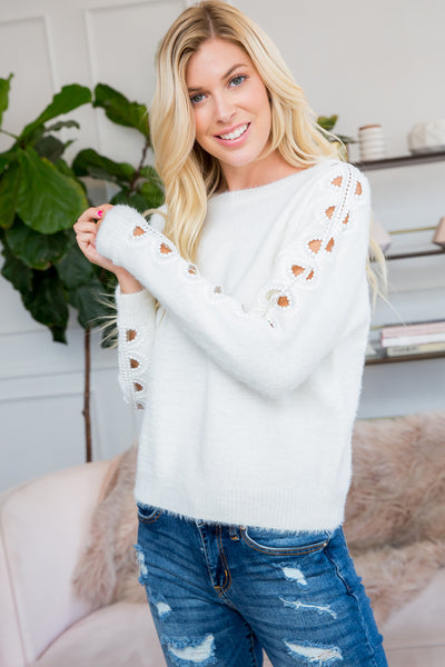 Crochet Lace Sleeve Soft Cozy Sweater Top - Ivory