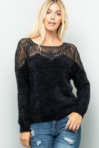 Crochet Lace Soft Cozy Sweater Top - Black