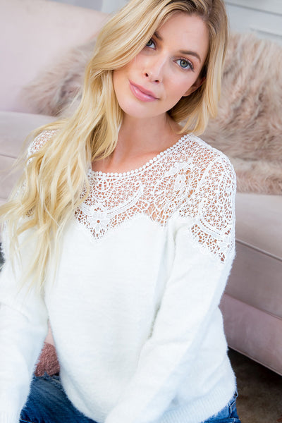 Crochet Lace Soft Cozy Sweater Top - Ivory