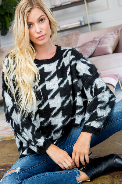 Houndstooth Print Sweater Top - Ivory/Black